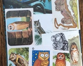 Owls of the Night Vintage Bird Collage, Scrapbook and Planner Kit Number 1927