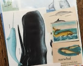 Narwhal the Unicorn of the Sea Vintage Arctic Circle Collage, Scrapbook and Planner Kit Number 1969
