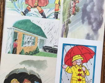 Weather Forecast: A Rainy Day Vintage Rain Collage, Scrapbook and Planner Kit Number 1872