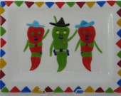 Three Amigos Fused Glass Serving Platter