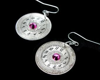 Watch Face Earrings, Steampunk Earrings, Antique, Swarovski Earrings, Clockwork, Industrial, Steampunk Wedding, Victorian Jewelry