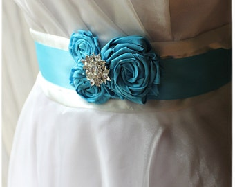 KgDesign brooch or sash pin, turquoise rosette trio with rhinestone accent
