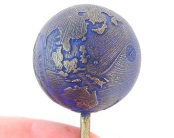 Miniature Blue Marble Earth for Miniature Gardening, Plant Decoration, Weatherproofed, Waterproofed