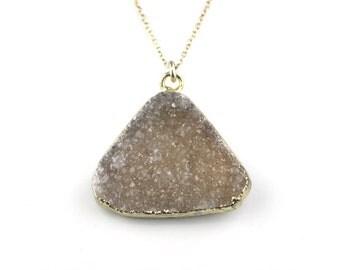 Beige Lavender Neutral Freeform Druzy Agate Silver Lined Pendant Necklace