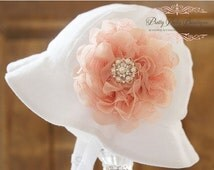 SALE Baby Flower Hat - Baby Easter Bonnet - Sun Hat - (Removeable) Peach Light Coral Flower Clip With White Sun Hat- Fits (Your Pick Size)