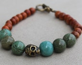 Dias de los Muertos Skull with Turquoise and Reclaimed Redwood Beaded Bracelet - Skull and Roses - Day of the Dead