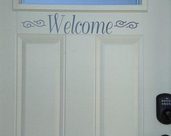 Welcome Door Vinyl with swirl accent