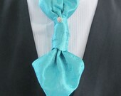 Mens Turquoise Teal Blue Paisley Ascot Cravat Pre Tied Mens Ascot With Crystal Stick Pin Formal Ascot