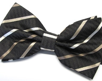 Mens Bowties. Brown Taupe Beige Stripes Bowtie With Matching Pocket Square Option