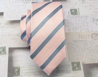 Mens Ties Skinny Tie. Peach Gray Stripes Skinny Necktie