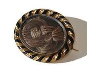 Antique Victorian Gold Hairwork Mourning Brooch Memento Mori 1800s Sentimental Hair Jewelry