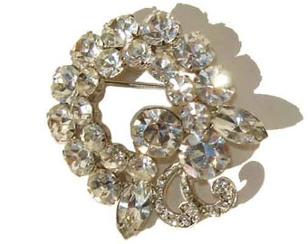 Vintage Unsigned Weiss Rhinestone Brooch Cocktail Pin