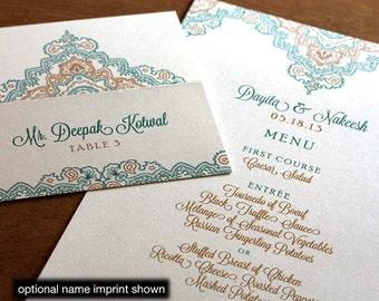 Dayita Menu, Table Marker & Place Card Set