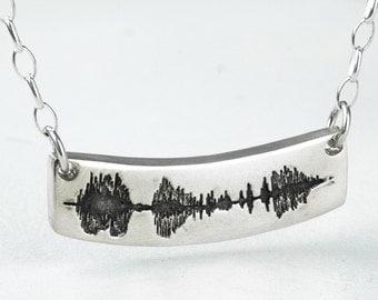 Sound Wave Necklace Soundwave Sterling Silver Personalized Long Bar