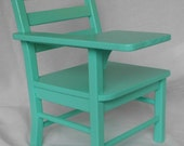"""Turquoise Handcrafted Wooden School Desk fits 18"""" American Girl Doll"""