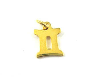 Gold Vermeil Horoscope Charms- Gemini- Gold plated Sterling Silver Zodiac Charms- Astrological Charm-Zodiac Pendant-(1 pc)-SKU: 201211VM-GEM