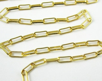 Yellow Gold Chain,Vermeil Gold Bulk Chain,Jewelry Making Chain,Gold plated Sterling Silver,Long Box Chain (1.5 feet) SKU: 101002-VM