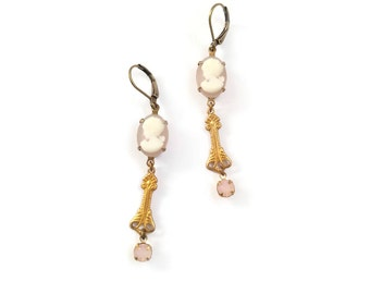 Victorian Marie Antoinette Style Earrings with Pink Cameos Flowers and Pearls - Marcelline Inspired Nouveau Earrings (SD1135)