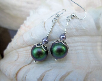 Green Purple Pearl Dangling Earrings
