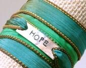 Hope, silk wrap bracelet, gypsy wrap bracelet, yoga bracelet, inspirational jewelry, yoga jewelry, hand stamped bracelet, wrap bracelet