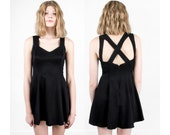 sale - STRAPPY backless BLACK party dress mini vintage fitted 90s Small / Xs