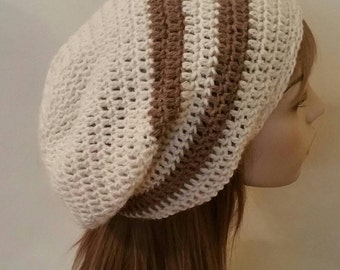 Alpaca Slouchy Beanie Hat in Natural and Camel