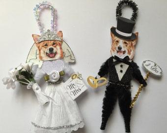 Corgi BRIDE & GROOM ornaments Wedding Dog ornaments vintage style chenille ORNAMENTS set of 2