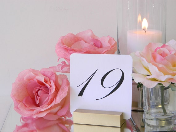 Table Number Holders |Gold HolidayCard Holders- Set of 10