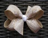 Large Khaki Burlap with White Lace Overlay Fabric Hair Bow