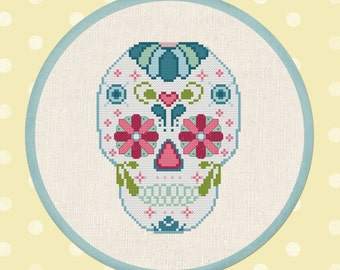 Sugar Skull. Day of the Dead Modern Simple Cute Pretty Cross Stitch Pattern. PDF Instant Download