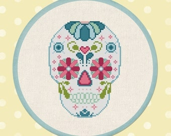 Sugar Skull. Day of the Dead Cross Stitch Pattern. PDF Instant Download