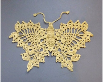 Butterfly Large Motif Applique Cotton Sparkle Yellow