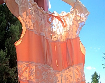 Vintage Rayon 40s Satin Nightgown Apricot Beautiful Lace Small Medium