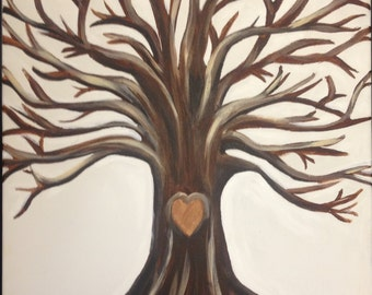 Custom Painted Thumbprint Wedding Guestbook Tree