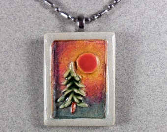 Pine Tree Necklace ~ Miniature Ceramic Tile Pendant ~ 20 inch Stainless Steel Chain ~ Sunset ~ Sunrise ~ Up North