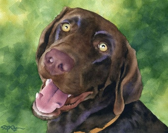 CHOCOLATE LAB Art Print Signed by Artist DJ Rogers