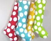 Sale - Christmas Stocking - Modern Polka Dots - Green White - Boy Girl Family - Christmas Decoration