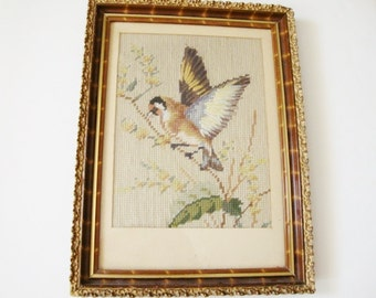 vintage needlework picture of bird finch sparrow framed