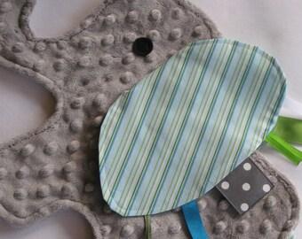Eli Stripe Elephant Shaped Blanket Sensory Lovey - LAST ONE