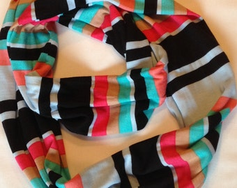 SALE Coral, Black and Pale Blue Stripe Jersey Knit Infinity Scarf