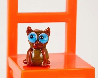 Brown Kitty Cat Lampwork Bead