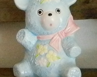 Vintage Blue Teddy Bear Planter- (S)