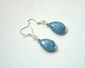 Blue aquamarine teardrop shaped dangle drop earrings Valentine gift for her Gemstone earrings Round Beads beaded earrings jewelry jewellery