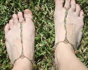Bronze and Green Castle Barefoot Sandals