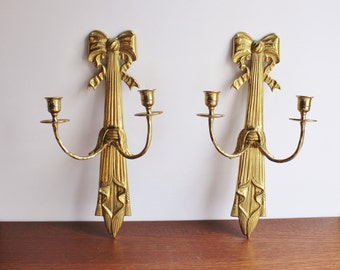 Vintage pair of brass wall sconces