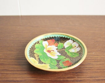 Vintage floral cloisonne dish