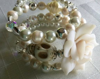 Day of the  Dead Wedding Bracelet Pearls and Silver