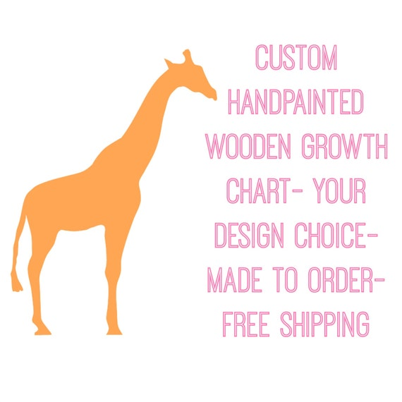 Custom Hand Painted Wooden Growth Chart- Your Design Choice- FREE Shipping