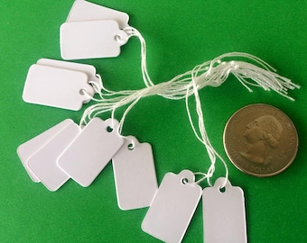 100 Price Jewelry Tags Labels Hanging Boutique Small White Retail Supplies with string 23 x 13mm Bulk Craft Shows Bazaar Tags