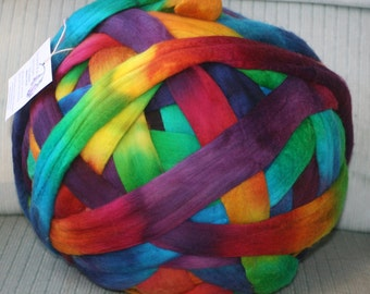 Superfine Merino Spinnng Fiber - Rainbow